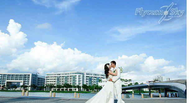 Flycam chụp đám cưới cầu ánh sao